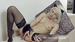 Stockings make hairy girl Selena horny and naughty's Thumb