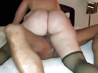 Wife riding colleague's cock until she cums