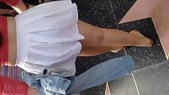 Big ass teen in see thru white skirt