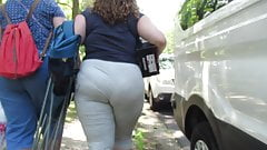Brunette BBW panty wedgie in light gray yoga pants