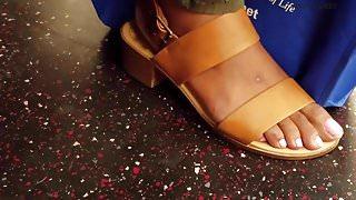 Candid ebony feet up close