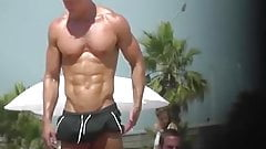 Muscle hunk at the beach