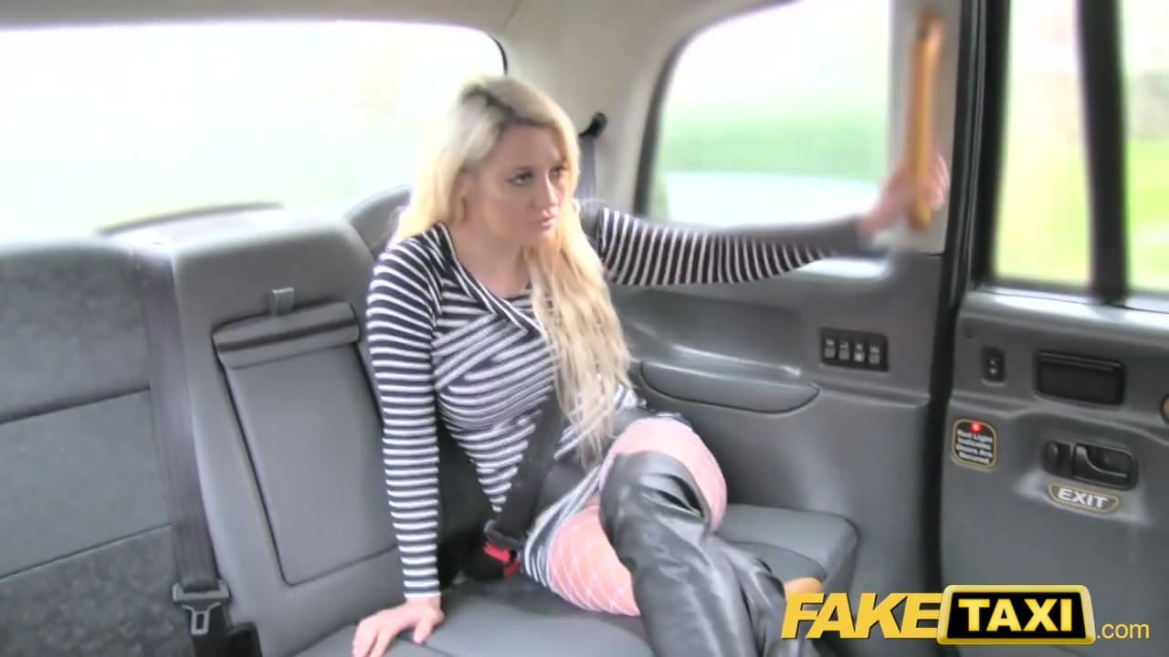Where fake taxi fetish queen in black leather gets anal creampie above told