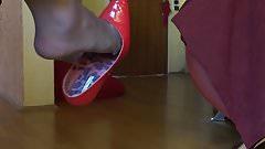 red stilettos dangling