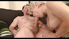Horny granny sucks and fucks