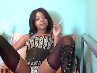 Sexy Black girl Smoking & fucking herself