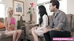 Sleazy alternative husband and wife banging their babysitter