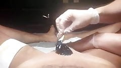 Male brazilian waxing with uncut erection