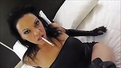 Smoking brunette - heavy makeup + gloves