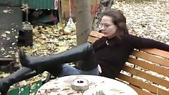 Lisa in long black thigh boots