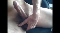 Mature guy wanks his uncut cock on cam