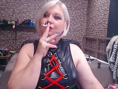 Submissive BBW smoking a cigarette on cam