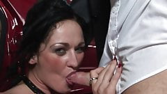 Brunette babe loves sucking her driver's cock
