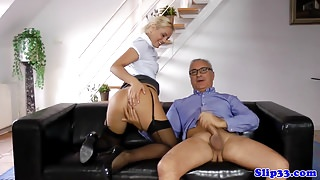 Cute euro amateur pussyfucked by old man