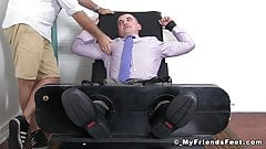 Feet loving businessman endures tickle torment while bound