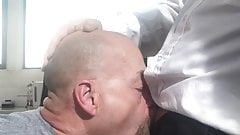Dady sucking my cock at work place