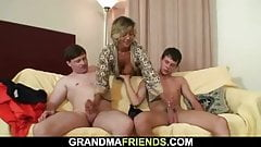 Two guys bang sexy mature mommy