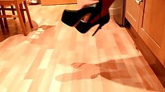 Crossdresser Teasing Shoeplay in 7 Inch Heels, Skirt & Thong