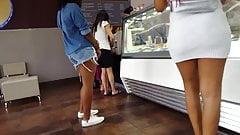 Candid voyeur ebony teen tight white dress booty ass