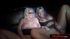 2 Big Tits MILF Hotwives Serve As Public Jackoff Material