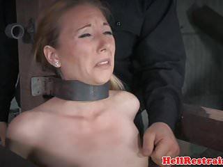 Stockinged bdsm sub with mouth gag dominated