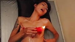 A japanese milf torturing herself
