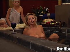 Busty Lesbian Madame And Big Tit Slaves In Orgy