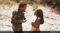 Actress Laura Gemser frontal nude and rough sex in movie