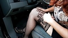 Driving lesson in stockings