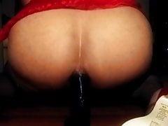 Crossdresser fucks ass with dildo, watch her cum!