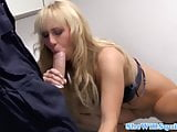 Petite blonde squirter getting covered in cum