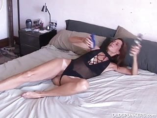 Sexy slim old spunker masturbates & fucks the cameraman