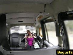 Busty Britt titfucks cabbie pov on spycam