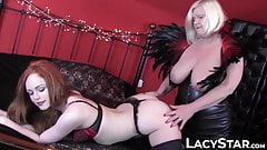 Hottest redhead fingered into submission by lesbian granny