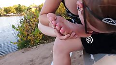 Girl licks her cute stinky Soles