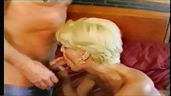 Skinny Vintage Amateur English Blonde takes on 2 plus facial