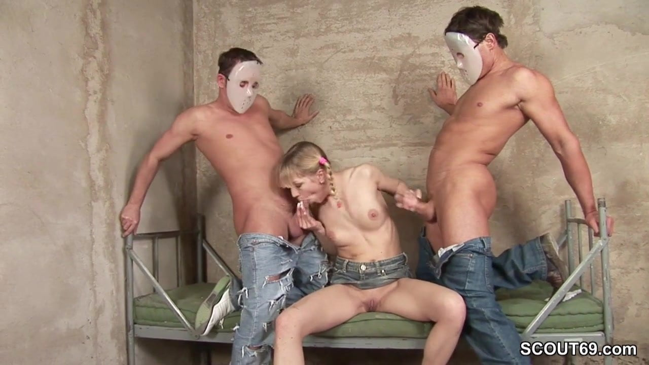 Petite Teen Get Anal Fuck in Prison by Two Stranger Guys