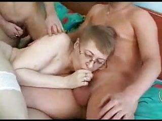 Mom with Glasses fucks 3 Boys 1-2