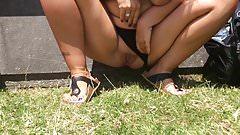 Pissing outdoor in public