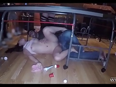College Freshmen Fuck Under A Table At A Party