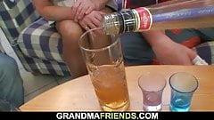 Boozed blonde grandma takes two big cocks's Thumb