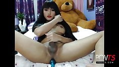 Cute asian tgirl jerks and cums online