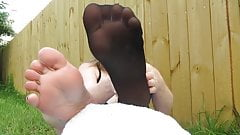 stocking feet in your face