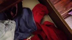 Another secret panty wank in friend's bedroom