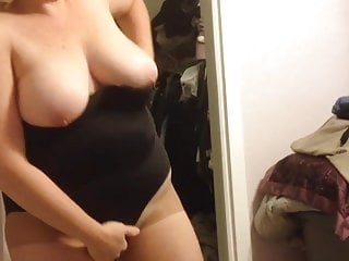 Wife Putting On Her Panty Hoes Black Girdle Over Bbw Body