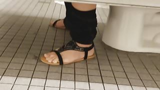 Gas Station Toilet Voyeur (Mexican Babe Wearing Bookbag)