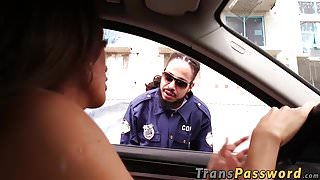 Hot brunette shemale with big boobs fucked by BBC cop