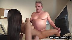 Horny HR girls fucks this grandpa during the interview
