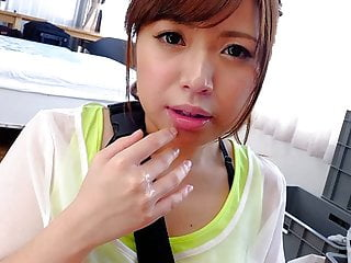 Petite Japanese chick Mei Wakana swallows small hairy fuck s