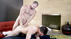 Daddy pins his lover down and fucks his tight butt hole hard